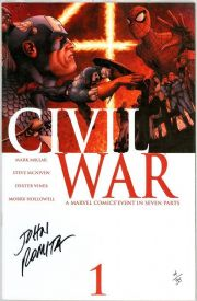 Civil War #1 First Print Dynamic Forces Signed John Romita Sr DF COA Ltd 35 Marvel comic book